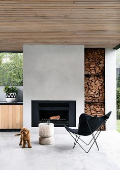 Brighton 5 by Inform Design & Architecture - Melbourne, VIC, Australia - Australian Architecture & Interior Design - Image 21 - The Local Project Concrete Fireplace, Open Fireplace, Fireplace Design, Outdoor Wood Fireplace, Brighton, Australian Architecture, Interior Architecture, Architecture Facts, Residential Architecture