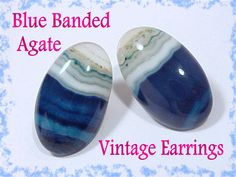 """Blue Banded Agate Clip 1"""" Earrings Scottish Scotland - Very RARE Blue - Victorian Vermont Estate Antique - Blue Ocean Waves - FREE SHIPPING by FindMeTreasures on Etsy"""