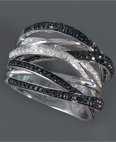 Caviar by EFFY Black and White Diamond Ring (3/4 ct. t.w.) in 14k White Gold
