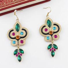 Pair Of Bohemian Ethnic Style Rhinestone Embellished Leaf Shape Drop Earrings For Women, AS THE PICTURE in Earrings | DressLily.com