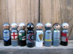 Knights Peg People - Set of 8 Wooden Hand Painted - Medieval Knights, Middle Ages