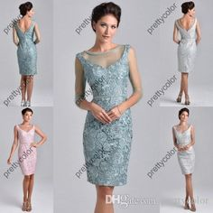 Scoop Neckline Sheath Zipper Closure Beaded Neckline Knee Length Lace Mother of the Bride Dress Pink Sliver Short Sleeves, $92.15   DHgate.com