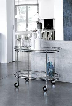 Riki, trolley in transparent glass. Luxury Furniture, Chrome, Bar, Glass, Design, Home Decor, Satin, Bright, Metal