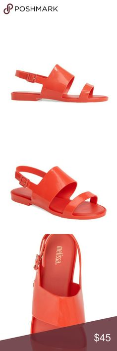 Never worn, beautiful red slides! Beautiful, classy, bright red Melissa sandals! Vegan and made from recycled materials. Extremely durable and comfortable slides. Never worn, comes with box. Accepting offers Melissa Shoes Sandals