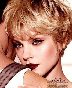 Black Cat eye & deep red lips #makeup I Jessica Stam Allure magazine September 2013