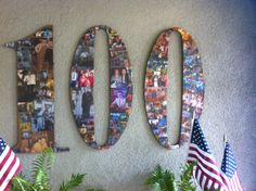 Milestone Birthday Idea- I made this for my father-in-law's 100th birthday party- decoupaged pictures from his life on a cardboard cut-out of his age- could be done for 21,40,50,90, etc.-any age!