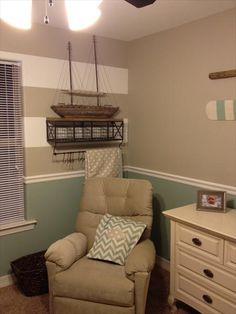 I want the tan and beige color, stripes on one accent wall, and the green, beige, and navy bedding for his fishing room!
