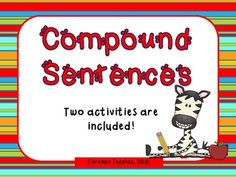This product contains two activities with a focus on compound sentences. The first activity has 15 cards and the second activity has12 cards.    Activity 1 Directions: Select the best coordinating conjunction (and, or, but, yet, nor, and so) to complete each compound sentence.    Activity 2 Directions: Write the two simple sentences that make up the compound sentence.    Answer key and student recording sheets are included.