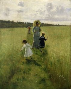 'Langs de grens. Vera Alexyevna Repina loopt met haar kinderen langs de grens', 1879 / Ilja Repin (1844-1930) / Tretjakovgalerij, Moskou, Rusland.