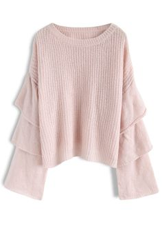 Dramatic Cuteness Knit Sweater with Tiered Bell Sleeves in Pink - New  Arrivals - Retro 30cec606f