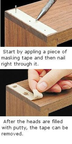 FILLER - Wood Filler Without the Mess by Using Masking Tape.