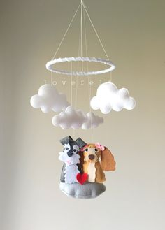 Baby mobile  - dog mobile - baby mobile dog - cocker spaniel mobile - lady and the tramp nursery - lady and the tramp mobile by lovefeltmobiles on Etsy https://www.etsy.com/listing/469938073/baby-mobile-dog-mobile-baby-mobile-dog