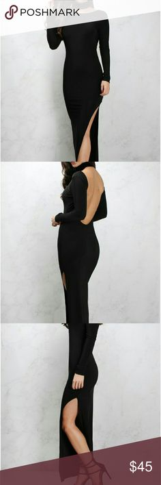 Black Side Split Maxi A sultry long sleeved fitted maxi dress with a scooped back and side split detail. Dresses Maxi