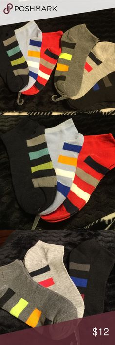 6 Pairs of Colorful Ankle Socks These are women's ankle socks. Sizes 9-11 they're are two pair that have a black background with various colors. One light blue background, one red background, one dark gray background, and one light gray background, these are brand-new without tags. Other