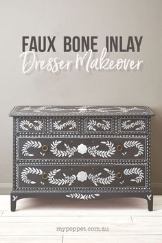 Painted Faux Bone Inlay Dresser Makeover | My Poppet Makes Grey Chest Of Drawers, Chest Of Drawers Makeover, Patterned Furniture, Painted Furniture, Furniture Makeover, Diy Furniture, Chalk Paint Wax, Painted Sticks, Home Decor Inspiration