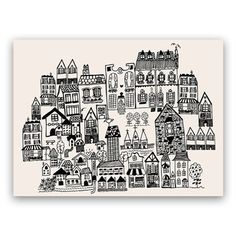 Hand-drawn and then digitally optimized, this sophisticated print of little houses each characterized with cute detailing will make an elegant addition to your gallery wall at home or at the office. Available at Chapters.
