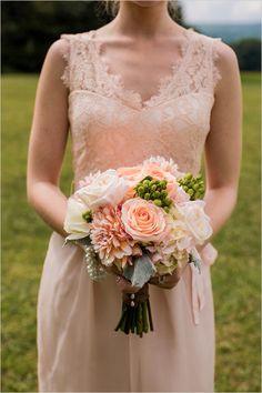Peach Bridesmaid Dress Peach And Green Bouquet Diy Barn Wedding Indigo Wedding, Floral Wedding, Peach Bridesmaid Dresses, Bridal Dresses, Wedding Bridesmaids, Cute Wedding Ideas, Wedding Styles, Bridesmaid Inspiration, Wedding Inspiration