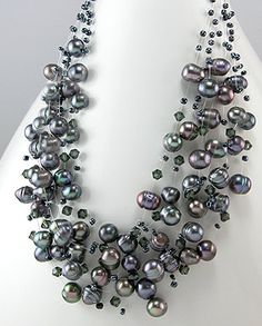Fresh Water Pearl Necklace - Black/Tahiti