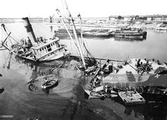 Scuttled ship in Marseille harbour, 1945-1949. As the Germans retreated in 1944 they destroyed the port, blocking the harbour with 192 wrecked ships and leaving only 12 of the 300 cranes usable. Marshall Plan aid was used to reconstruct the port