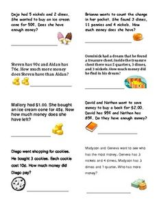 Money Word Problems Grade 2