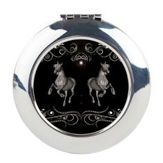 #Horses with floral elements #Round #Compact #Mirror > Horses with black background > dreamworld