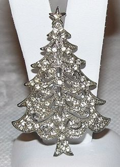 Hedy Lacey Rhinestone Filigree Christmas Tree Pin from under-on-by-the-sea on Ruby Lane
