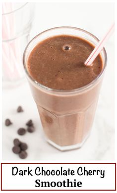 Simple Dark Chocolate Cherry Smoothie | nourishedtheblog.com | A simple dark chocolate cherry smoothie recipe made gluten free and vegan with frozen cherries, banana, cocoa powder, almond milk and cinnamon all blended to icy cold perfection. Delicious as dessert or as a sweet breakfast treat.