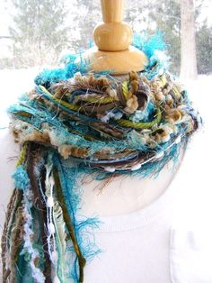 Extra Long Chocolate Brown Teal Mocha Olive Green White Skinny Knotted Layered Fiber Yarn Scarf or Belt. $16.00, via Etsy.