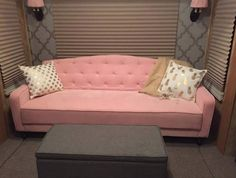 Novogratz Vintage Tufted Sofa Sleeper Ii Pink Velour