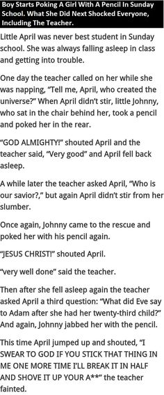 Boy Starts Poking Girl With A Pencil In Sunday School What She Does Next Shocks Everyone funny quotes quote jokes story lol funny quote funny quotes funny sayings joke humor stories