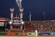 Part of Great American Ball Park on fire during Reds game