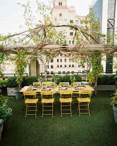 yellow chairs roof garden pergola