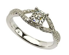 Vera Wang designed engagement rings from Jewellers Galway set in platinum with radiant cut diamond