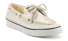 White sequin Sperry's for the reception
