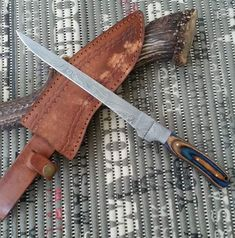 Custom Handmade Damascus Steel Fillet Fish Knife With Leather Sheath Damascus Blade, Damascus Knife, Damascus Steel, Fish Knife, Fillet Knife, Handmade Knives, Natural Leather, Knifes, Edc