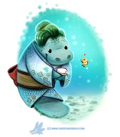 Daily Paint #1255. Manatea Time by Cryptid-Creations.deviantart.com on @DeviantArt