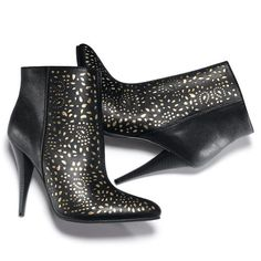 "These perforated black and gold leatherlike boots steal the show. Plush and comfy Cushion Walk® footbed. 4"" heel.<br>Half sizes, order one size up.  ~ order at www.youravon.com/atodd"