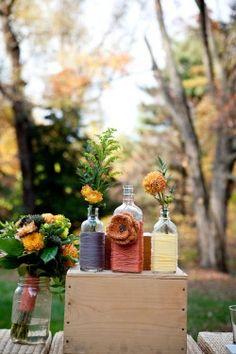 yarn around vases. so easy