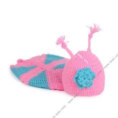 Baby Unisex Velvet Crochet Beanie Photography  Butterfly Hat Set