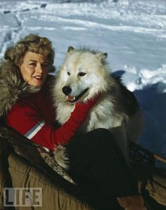 Shelley Winters and Her Dog on Holiday