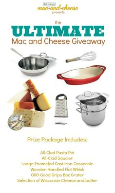 Enter to win the Ultimate Mac and Cheese Giveaway! http://allthingsmacandcheese.com/giveaway