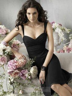 Simply Sheath / Column Straps Knee-length Chiffon Black Bridesmaid Dresses - $105.99 - Trendget.com