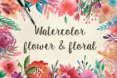 159 Watercolor flowers & florals | Floral Cliparts | Floral patterns | Watercolor elements | Graphic Design