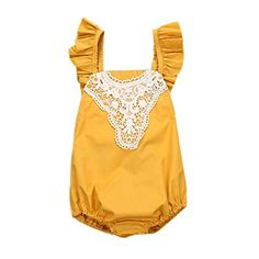 """TIFENNY Clearance Baby Girl Romper Lace Sunsuit Outfits Clothes:   brbr Specifications: br ★ Gender: Girls br ★ Clothing Length: Regular br ★ Sleeve Style: Regular br ★ Pattern: Solid br ★ Style: Cute br ★ Material: Cotton Blend br ★ Sleeve Length: Sleeveless br ★ Package include:1PC Romper br ★ Suitable for ages in children (0-24M) brbr ★ Size Details: brSize:0/6M ---Label Size:70 ---Waist:46-54cm/18.1-21.3"""" ---Length:42cm/16.5"""" ---Height:70CM brSize:6/12M ---Label Size:80 ---Waist:48..."""