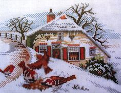 238.596 Winter Cottage Cross Stitch Kit - SewingCafe