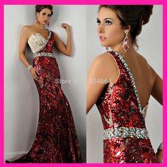 Burgundy One Shoulder Crystal Shimmering Sequin Evening Dress Mermaid