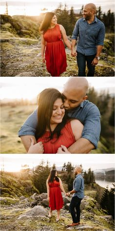 What to wear for engagement photos: red and blue always look good! A deep red dress and blue denim or chambray shirt is always a good option!    These fun and romantic engagement pictures were taken in the Columbia River Gorge by adventure photographer Katy Weaver Engagement Photo Outfits, Engagement Pictures, Engagement Shoots, Columbia River Gorge, Chambray, Blue Denim, Red And Blue, What To Wear, Photo Ideas