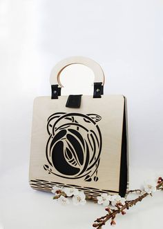 Art Nouveau  Wooden hand bag Silk bag everyday bag wooden