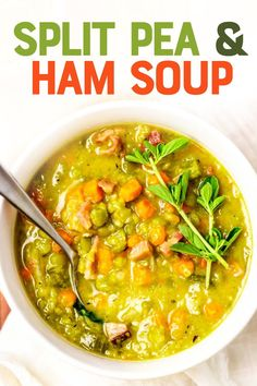 Fancy food it is not, but Split Pea Soup with Ham is delicious, comforting, and affordable. Stovetop, Instant Pot, slow cooker—we'll show you how to make it all three ways! Split Pea Ham Soup, Pea And Ham Soup, Pea Soup, Crockpot Recipes, Soup Recipes, Chili Recipes, Cooker Recipes, Free Recipes, Recipies