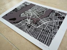 New York Art Map  Limited Edition Contemporary by FirewaterGallery